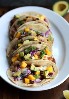 Fish Tacos with Cabbage Slaw. Genius Fish Tacos with Cabbage Slaw. Grilled Chili Lime Fish Tacos with sour Cream Cabbage Slaw Mango & Avocado Seafood Dishes, Seafood Recipes, Mexican Food Recipes, Cooking Recipes, Healthy Recipes, Drink Recipes, Fish Tacos With Cabbage, Cabbage Slaw, Creamed Cabbage