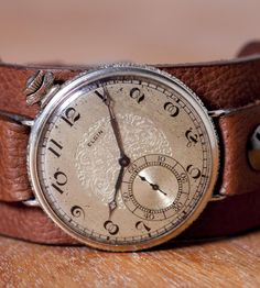 """Vintage Trench Watch """"1923 Jefferson"""" by The Doughboy Watch Company on Scoutmob Shoppe. An antique 1923 watch face, on a thick, modern band."""
