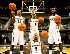 MSU starters Gary Harris, Keith Appling, Branden Dawson and Adreian Payne at MSU media day Oct. 22, 2013 at Breslin Center in East Lansing.