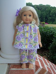Vintage Baby Doll Style Pajamas / Clothes for American Girl Dolls