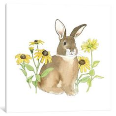 Lark Manor Wildflower Bunnies III Graphic Art on Wrapped Canvas Size: