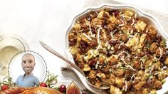 Complement your turkey with Stefano Faita's sausage stuffing Sausage Stuffing, Confort Food, Cranberry Chicken, Bacon, Xmas Dinner, Italian Recipes, Cooking Tips, Macaroni And Cheese, Recipes