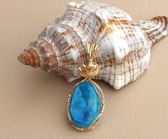 Electric Blue Druzy 14K Rolled Gold Wrapped Pendant by JuditGems, $65.00