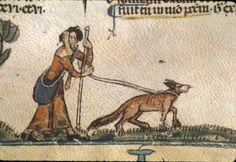 Pilgrim and dog. —- Royal 10 E IV f.110 [Calendarium, Decretals of Gregory IX…