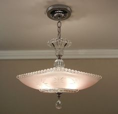 Vintage American Art Deco Chandelier STARBURST CANDLEWICK Soft Pink Glass Ceiling Light Fixture Rewired