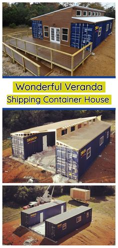 Wonderful Veranda Shipping Container House - USA - Living in a Container Shipping Container Buildings, Shipping Container Home Designs, Shipping Container House Plans, Container Design, Sea Container Homes, Shipping Containers, Storage Container Houses, Tiny Container House, Container Store