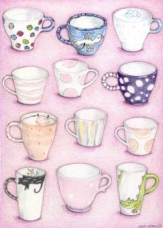Pink Collection Tea & Coffee Cups * coloured pencil * Mariana Musa