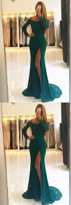 Green Prom Dresses, Long Prom Dresses, 2018 Prom Dresses Lace, Sheath/Column Prom Dresses Off-the-shoulder, Modest Prom Dresses For Girls #lacedresses