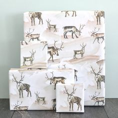 Watercolor Reindeer Holiday Wrapping Paper Sheet by by RevelAndCo