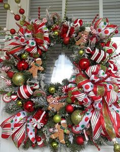 CHRISTMAS BOUTIQUE WINDOW -X L Holiday Gingerbread Candy Wreath Decoration by DecorClassicFlorals, $149.95