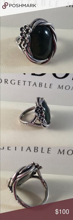 Pandora Nephrite Jade Ring Authentic size 7 large genuine jade rare Pandora ring. (Think it would fit a 6.5 better)Stunning dark green. Large design. Comes boxed. Pandora Jewelry Bracelets