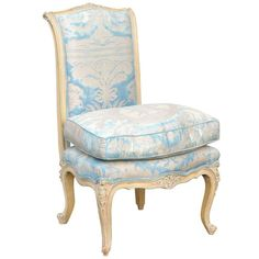 French Louis XV Style Early 20th Century Painted Slipper Chair in Fortuny Fabric | From a unique collection of antique and modern slipper-chairs at https://www.1stdibs.com/furniture/seating/slipper-chairs/