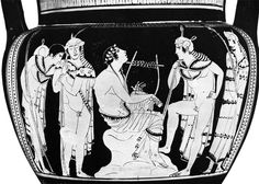Orpheus plays the lyre and sings among Thracian warriors with spears. Attic Red-figure column krater by the Orpheus Painter, ca. 440. H. 51 cm. Simon, Erika. Die Griechischen Vasen. Hirmir Verlag, Munich: 1981. Plate 203