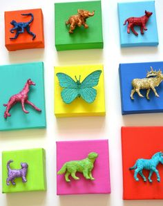 Create 3D wall art for kids room by spray painting and gluing toys to canvas