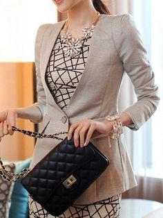 Deep V Neckline Long Sleeve Women Blazer