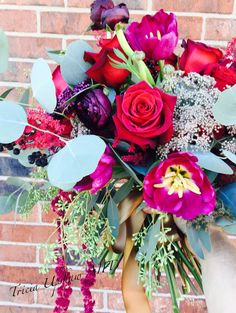 Burgandy and plum wedding bouquet