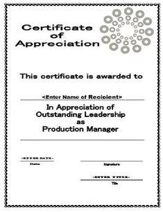 free printable certificate of appreciation award