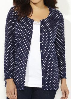 CATHERINES PATTERNED ESSENTIAL SNAP CARDIGAN - PLUS SIZE 4X (30/32W) #Catherines #Cardigan