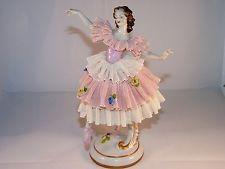 Vintage Volkstedt Dresden Lace Germany Large Ballerina Dancer Lady
