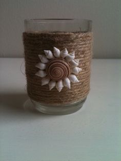 Jute Wrapped Votive Candle Holder with Seashell by Tersjustbeachy, $6.00