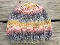 Easy Peasy Hat - Free Pattern : This easy hat works up fast in Lion Brand Wool . Easy Peasy Hat – Free Pattern : This easy hat works up fast in Lion Brand Wool Ease Thick and Qu Baby Knitting Patterns, Baby Hats Knitting, Knitting Kits, Loom Knitting, Hat Patterns, Lion Brand Patterns, Knitting Machine, Easy Knit Hat, Knitted Hats Kids