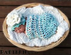 Ravelry: Fleecy Cloud Cocoon & Beanie Set for Newborn- Crochet PDF Pattern pattern by Ira Rott