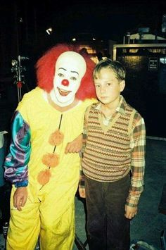 Tim Curry on a smoke break with Adam Faraizl on the set of It.