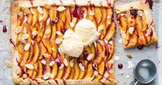 A gorgeous summer-inspired dessert, this nectarine tart features buttery almond pastry and lashings of raspberry jam.