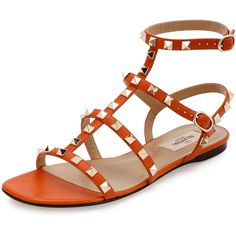 Valentino Rockstud Leather Flat Sandal ($945) ❤ liked on Polyvore featuring shoes, sandals, orange, leather sandals, caged flat sandals, leather flats, valentino sandals and flat pumps