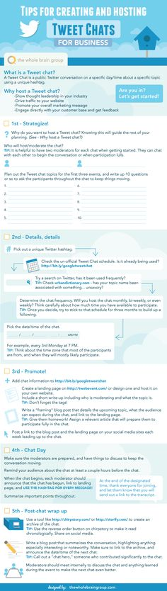 Tips for Creating and Hosting Tweet Chats [Infographic] - A Tweet Chat is a public Twitter conversation on a specific day/time about a specific topic using a unique hashtag.Hosting a Tweet Chat shows thought leadership in your industry, can drive traffic to your website, promote your overall marketing message, and help you engage directly with your customer base. Follow our tips to create one for your business.