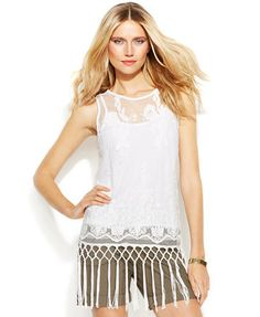 INC International Concepts Illusion Lace Fringe Top