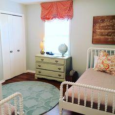 Jenny Lind beds, Annie Sloan Versailles, custom signs, Benjamin Moore Gray Owl