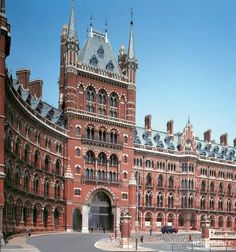 St Pancras Renaissance Hotel forming the frontispiece of St Pancras railway station.  It opened in 2011, but occupies much of the former Midland Grand Hotel designed by George Gilbert Scott which opened in 1873 and closed in 1935.  Between 1935 and 2011, the building was known as St Pancras Chambers and was used as railway offices.
