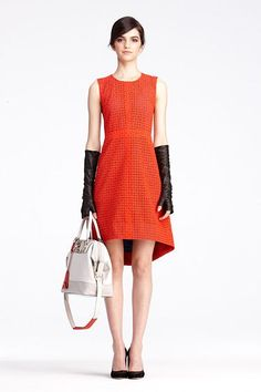 """Libby Dress   Dresses by DVF    very modern """"an education""""   love the hi lo plus those gloves!"""