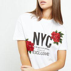 White 'NYC' print floral appliqué T-shirt