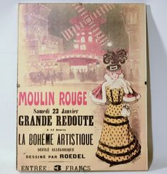 """Moulin Rouge Advertising  Roedel 11"""" x 8""""½ Print Poster with Clear Glass Frame"""