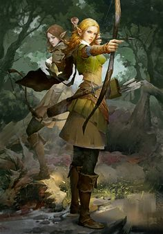 Party of 2 High Elf Ranger Community Patrol Deciduous forest stream lg Female Character Concept, Fantasy Character Design, Character Inspiration, Character Art, High Fantasy, Fantasy Women, Fantasy Girl, Dnd Characters, Fantasy Characters