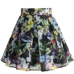 Chicwish Flower Bouquet Pleated Skirt in Black (50 CAD) ❤ liked on Polyvore featuring skirts, multi, black knee length skirt, flower print skirt, flower skirt, retro skirt and floral printed skirt