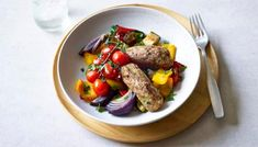 Solve your vegetarian barbecue dilemmas with our veggie sausage recipes. You can easily whip up your own homemade veggie sausages or get ideas for using shopbought sausages in classic recipes like toad in the hole or a veggie fry-up. Sausage Tray Bake, Veggie Sausage, Sausage Recipes, Bbc Recipes, Veggie Meals, Recipies, Roasted Vegetables, Veggies, Tray Bake Recipes