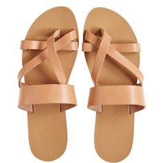 KYMA Sikinos Leather Slip-On Sandal ($149) ❤ liked on Polyvore