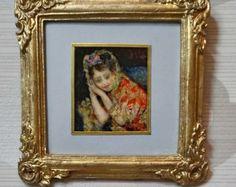 Mini versie olie van Bloemen van Jan Frans Van Dael geschilderd. Maatregelen met frame 7 x 8 cm