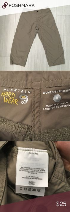 "Mountain Hard Wear hiking Capris Women's size 8 Mountain Hard Ware Hiking Capris. Excellent condition, no signs of wear. Thin lightweight material, perfect for traveling/hiking or just general wear.                                         Measured flat 15"" waist 8.5"" rise 22.5"" inseam.                          ❤️ I love offers! I'll accept most of them, especially if they're reasonable! 💚 Mountain Hard Wear Pants Capris"