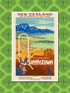 New Zealand, Queenstown Travel Poster Wall Decor (7 print sizes available)