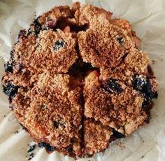 Vegan kersen-abrikozen kruimeltaart