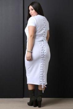 Jersey Back Corset Lace Up Midi Skirt