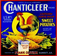Sunset Louisiana Chanticleer Rooster Chicken Chickens Sweet Potatoes Yams Vegetable Crate Box Label Art Print. $9.99, via Etsy.