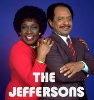 """The Jeffersons. Another show by Norman Lear. In fact it was a spinoff of """"All in the family."""" The Jeffersons were next door neighbors before """"Movin on up to the east side"""" in 70s Tv Shows, Old Shows, Great Tv Shows, Movies And Tv Shows, Children Of The Revolution, Hollywood Scenes, Childhood Tv Shows, Tv Show Music, Vintage Television"""