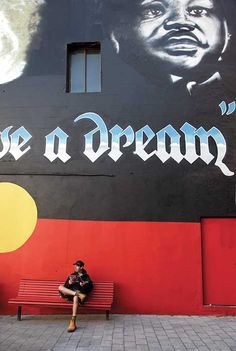 I have loved this for years. The giant 'I have a dream' mural featuring Martin Luther King and the Aboriginal flag on King Street! #newtown #sydneycommunity #art