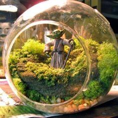 Amazing Yoda Star Wars terrarium.  Ok now this one makes me want to do a miniture garden LOL!