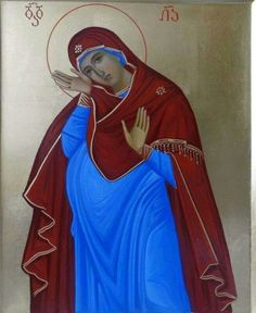 The Theotokos bearing Christ (this is the first image of a pregnant Mary I think I've ever seen)
